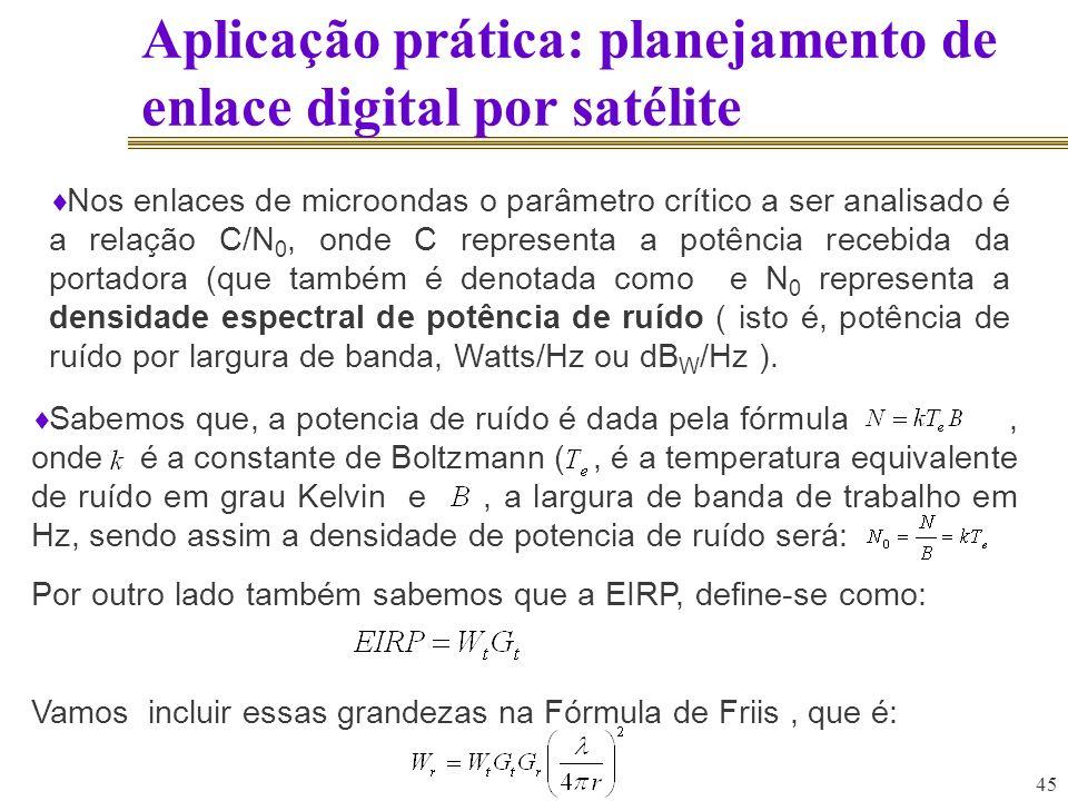 45 Aplicação prática: planejamento de enlace digital por satélite Sabemos que, a potencia de ruído é dada pela fórmula, onde é a constante de Boltzman