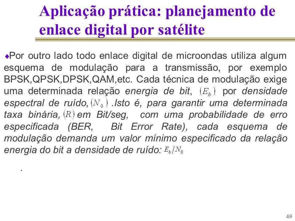 49 Aplicação prática: planejamento de enlace digital por satélite Por outro lado todo enlace digital de microondas utiliza algum esquema de modulação