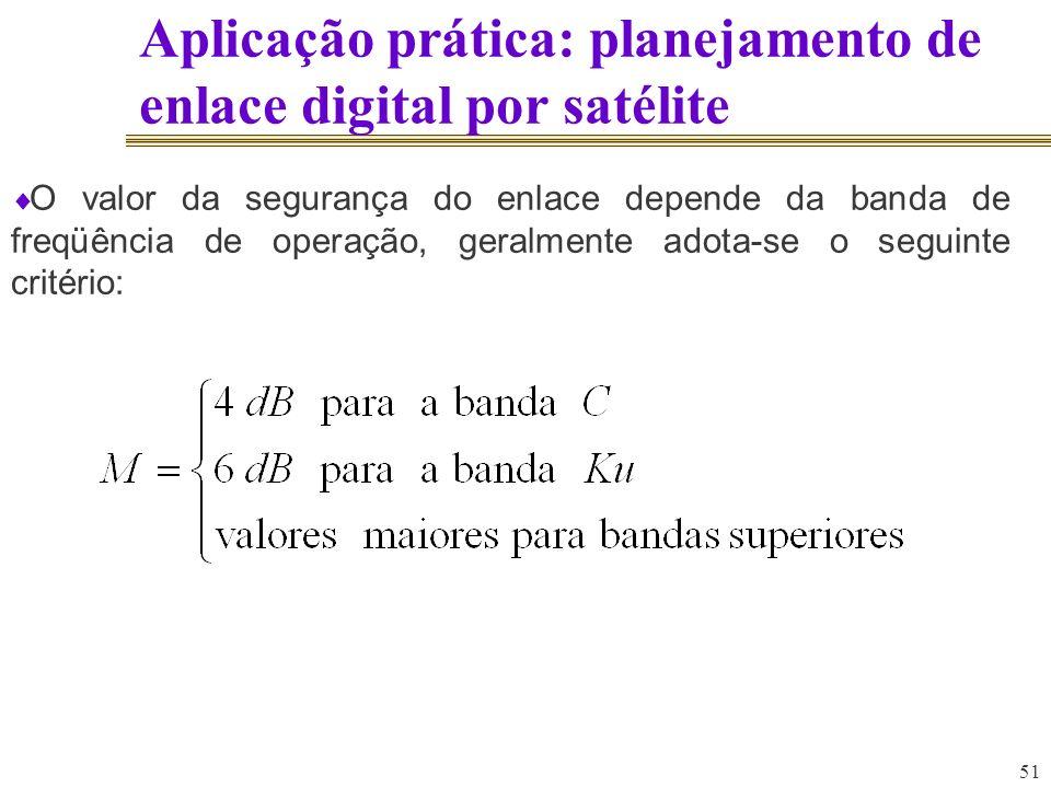 51 Aplicação prática: planejamento de enlace digital por satélite O valor da segurança do enlace depende da banda de freqüência de operação, geralment