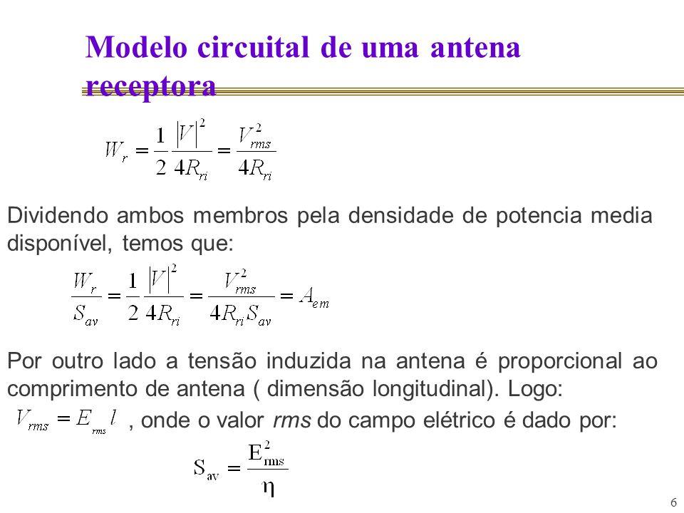 6 Modelo circuital de uma antena receptora Dividendo ambos membros pela densidade de potencia media disponível, temos que: Por outro lado a tensão ind