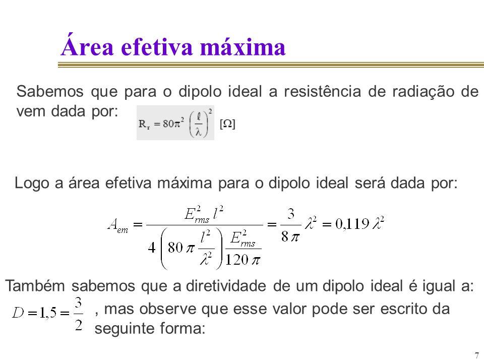 8 Área efetiva máxima Logo concluímos que: O mais interessante de tudo é que essa forma embora deduzimos essa fórmula para o dipolo ideal, ela é válida para qualquer antena !