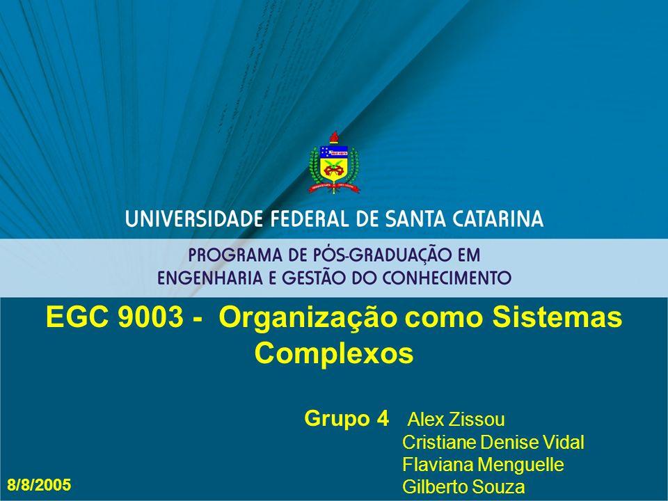 Grupo 4 Alex Zissou Cristiane Denise Vidal Flaviana Menguelle Gilberto Souza EGC 9003 - Organização como Sistemas Complexos 8/8/2005