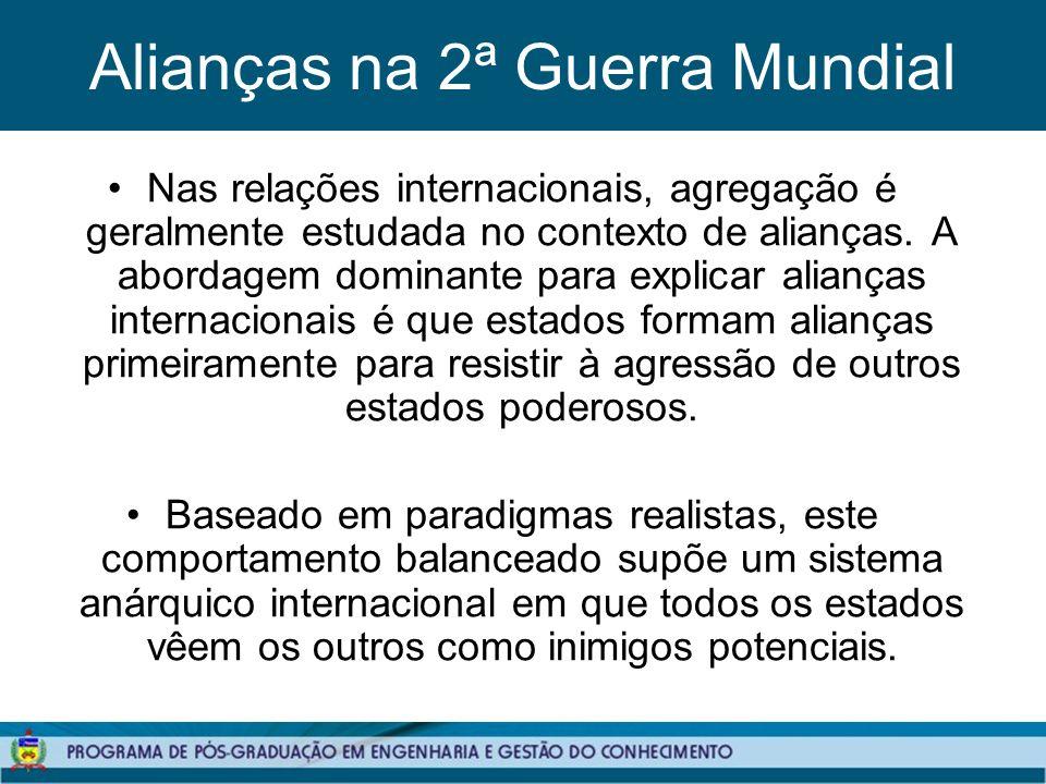 Alianças na 2ª Guerra Mundial Nas relações internacionais, agregação é geralmente estudada no contexto de alianças.