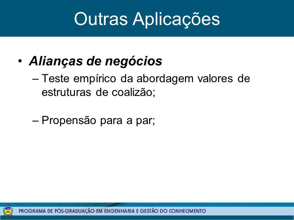 Outras Aplicações Alianças de negócios –Teste empírico da abordagem valores de estruturas de coalizão; –Propensão para a par;