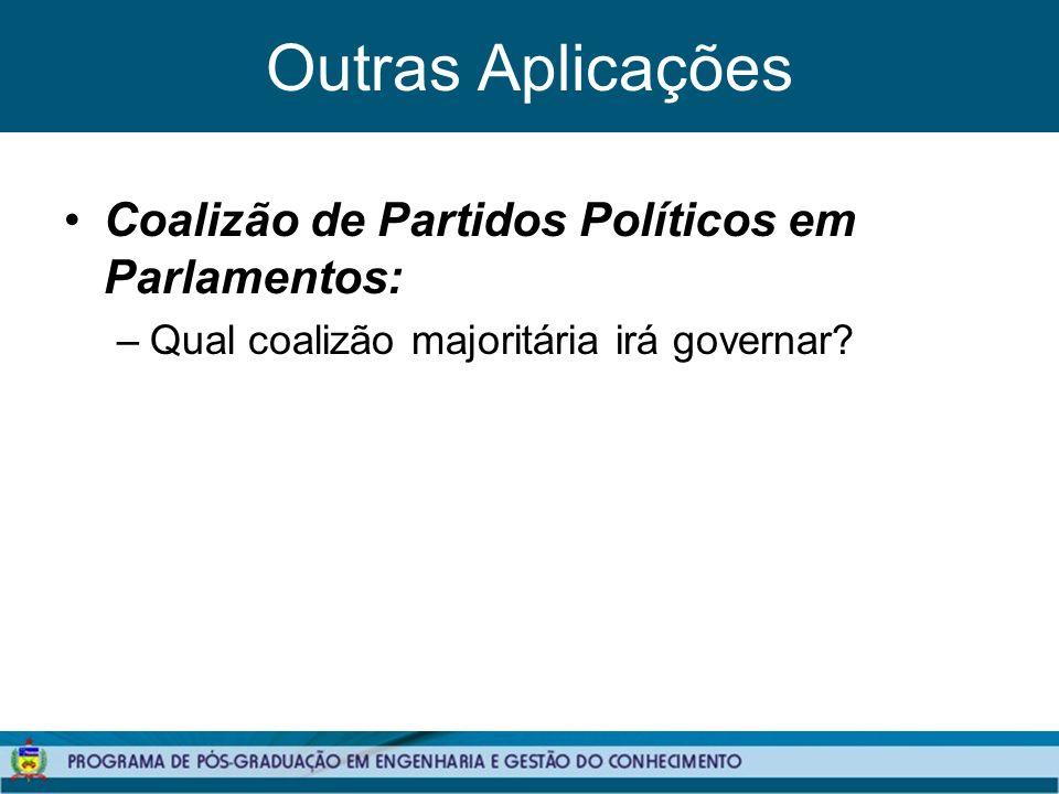 Outras Aplicações Coalizão de Partidos Políticos em Parlamentos: –Qual coalizão majoritária irá governar?