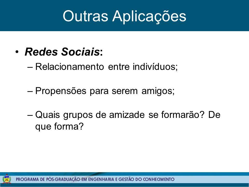 Outras Aplicações Redes Sociais: –Relacionamento entre indivíduos; –Propensões para serem amigos; –Quais grupos de amizade se formarão.
