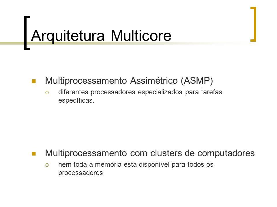 Arquitetura Multicore Multiprocessamento Assimétrico (ASMP) diferentes processadores especializados para tarefas específicas. Multiprocessamento com c