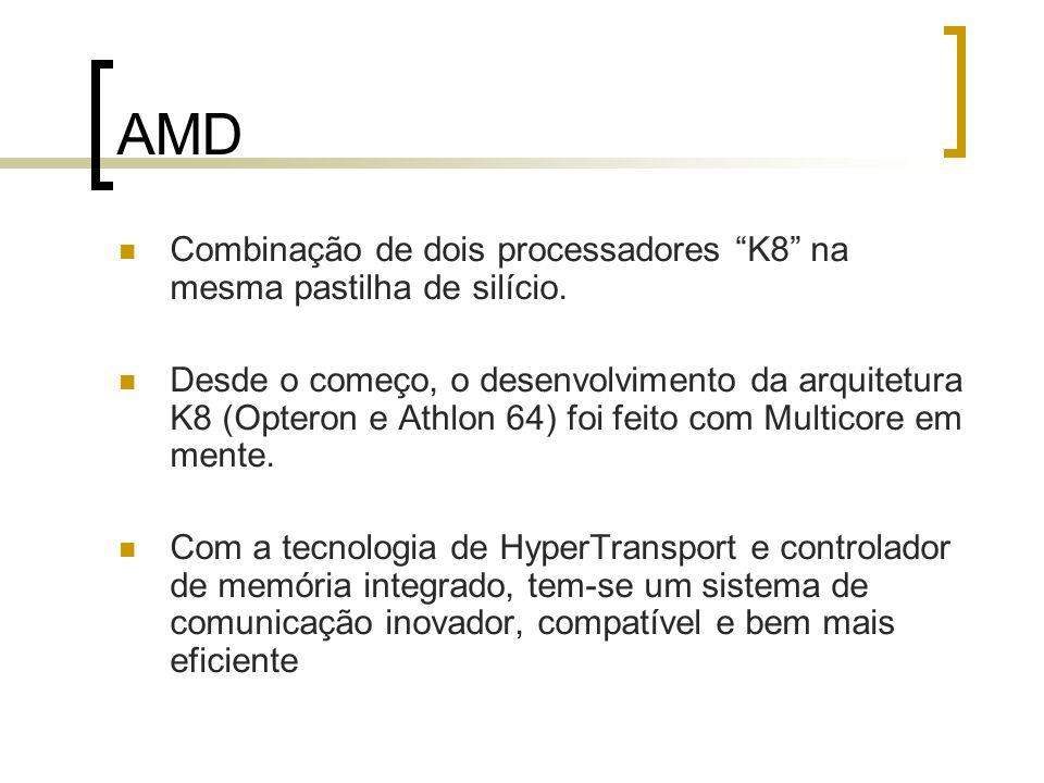 AMD Combinação de dois processadores K8 na mesma pastilha de silício. Desde o começo, o desenvolvimento da arquitetura K8 (Opteron e Athlon 64) foi fe