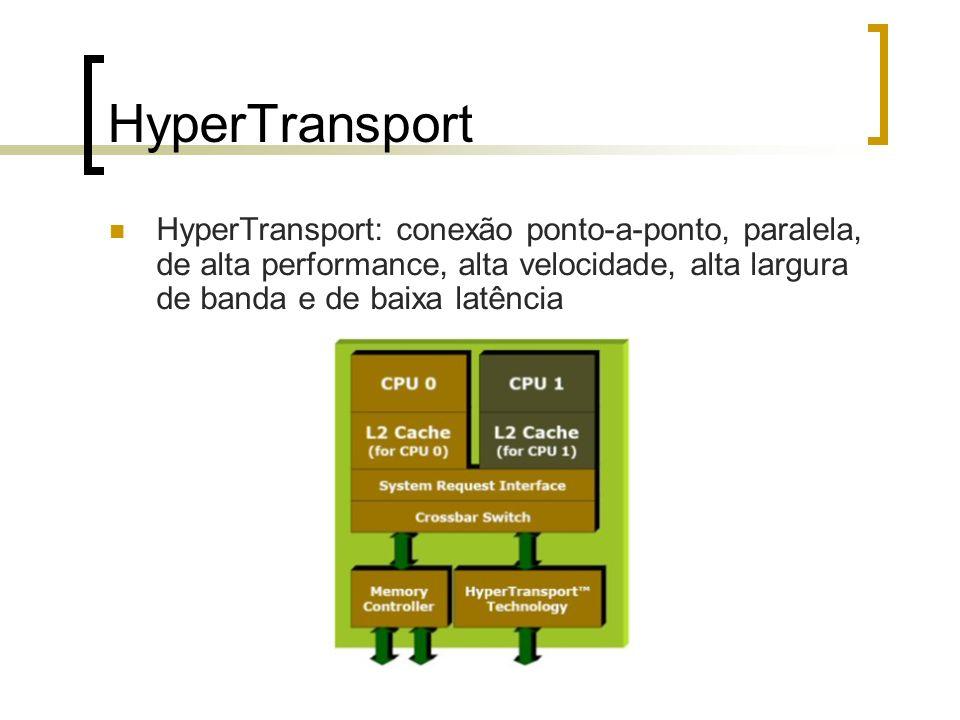 HyperTransport HyperTransport: conexão ponto-a-ponto, paralela, de alta performance, alta velocidade, alta largura de banda e de baixa latência