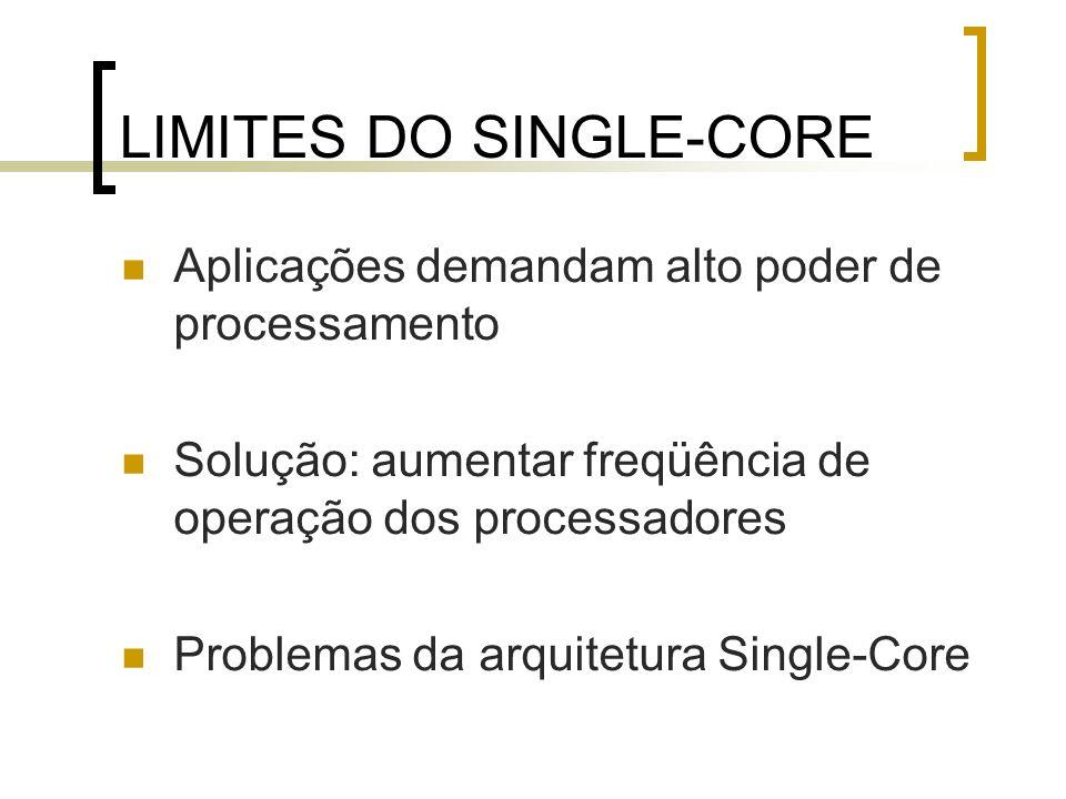 LIMITES DO SINGLE-CORE Aplicações demandam alto poder de processamento Solução: aumentar freqüência de operação dos processadores Problemas da arquite