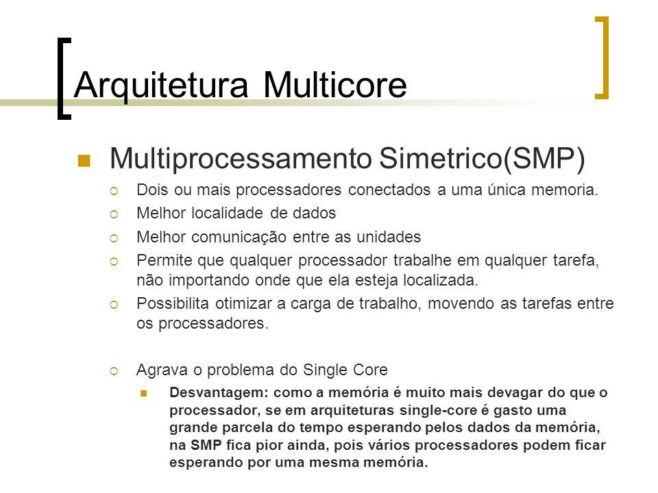 Arquitetura Multicore Multiprocessamento Simetrico(SMP) Dois ou mais processadores conectados a uma única memoria. Melhor localidade de dados Melhor c