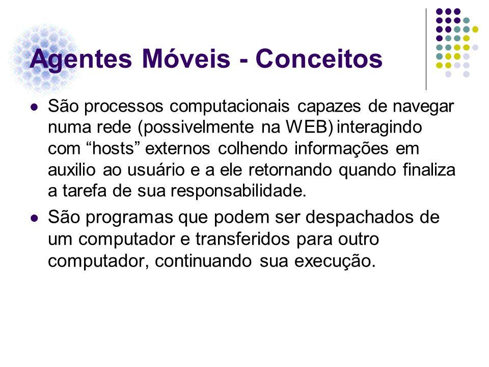 Agentes Móveis - Conceitos São processos computacionais capazes de navegar numa rede (possivelmente na WEB) interagindo com hosts externos colhendo in