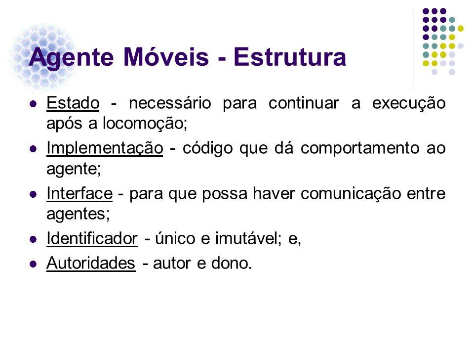 Agente Móveis - Estrutura Estado - necessário para continuar a execução após a locomoção; Implementação - código que dá comportamento ao agente; Inter
