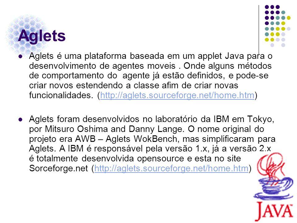 Aglets Aglets é uma plataforma baseada em um applet Java para o desenvolvimento de agentes moveis. Onde alguns métodos de comportamento do agente já e