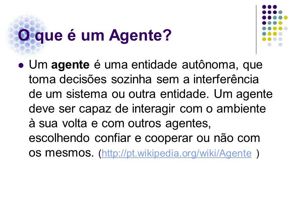 O que é um Agente? Um agente é uma entidade autônoma, que toma decisões sozinha sem a interferência de um sistema ou outra entidade. Um agente deve se