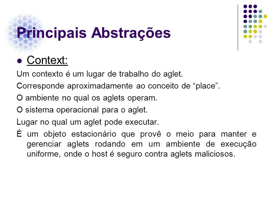 Principais Abstrações Context: Um contexto é um lugar de trabalho do aglet. Corresponde aproximadamente ao conceito de place. O ambiente no qual os ag