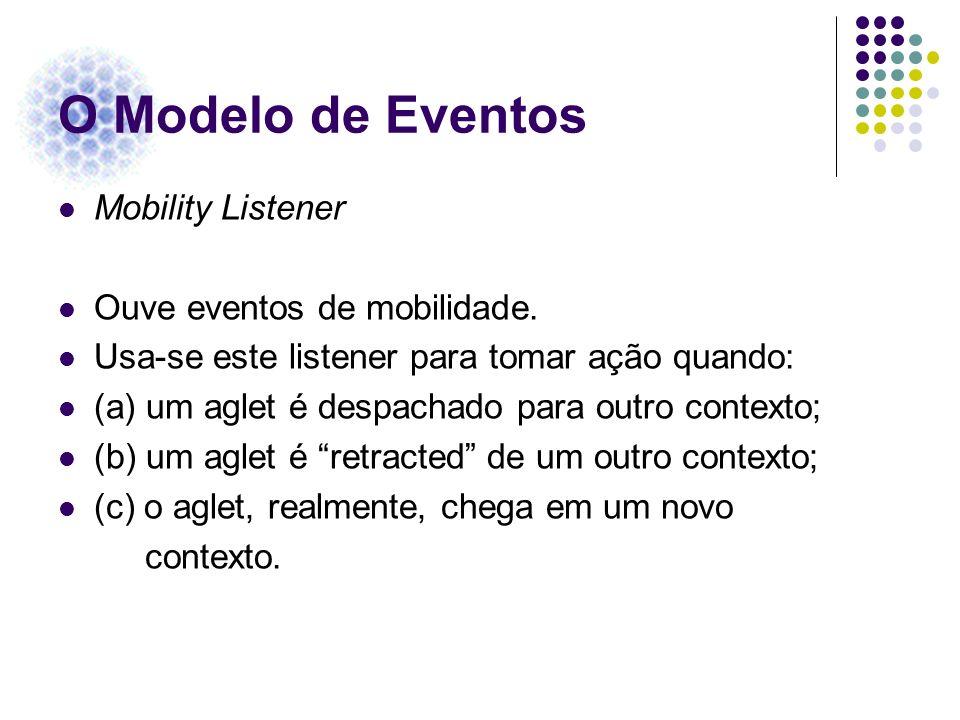 O Modelo de Eventos Mobility Listener Ouve eventos de mobilidade. Usa-se este listener para tomar ação quando: (a) um aglet é despachado para outro co