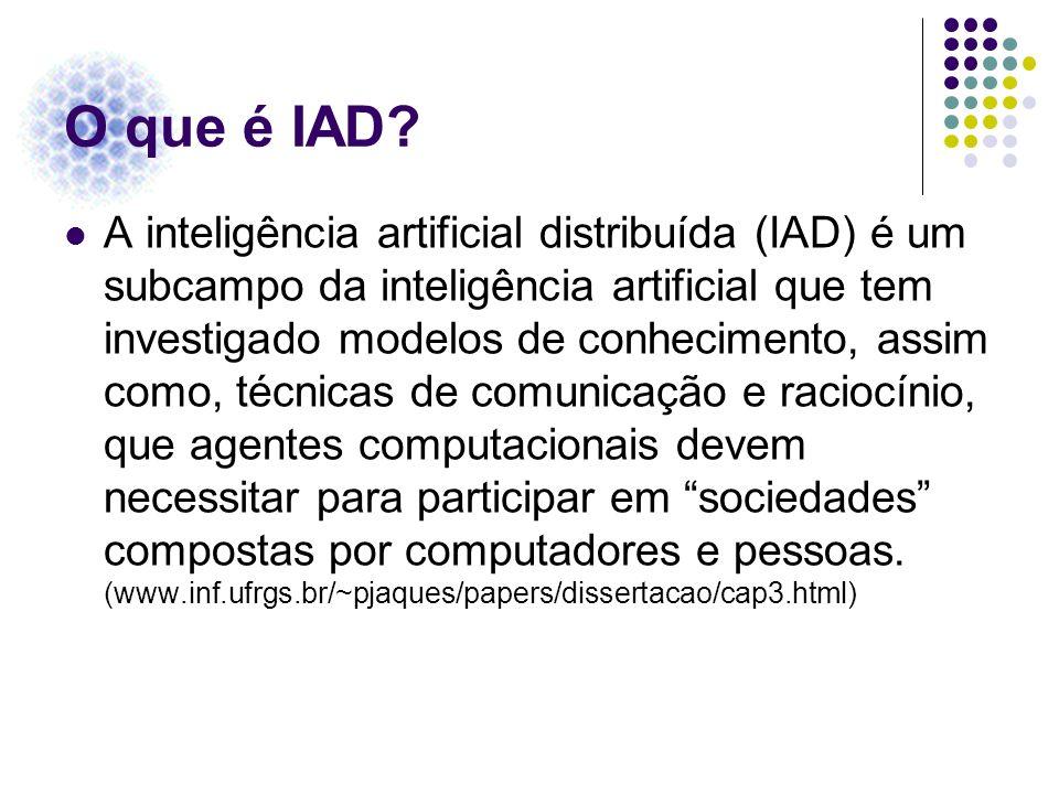 O que é IAD? A inteligência artificial distribuída (IAD) é um subcampo da inteligência artificial que tem investigado modelos de conhecimento, assim c