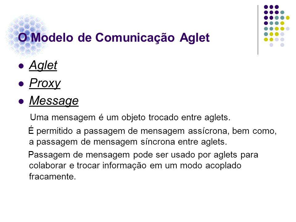 O Modelo de Comunicação Aglet Aglet Proxy Message Uma mensagem é um objeto trocado entre aglets. É permitido a passagem de mensagem assícrona, bem com