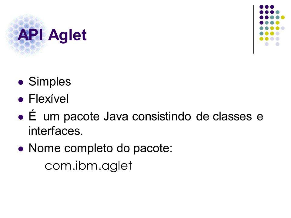 API Aglet Simples Flexível É um pacote Java consistindo de classes e interfaces. Nome completo do pacote: com.ibm.aglet