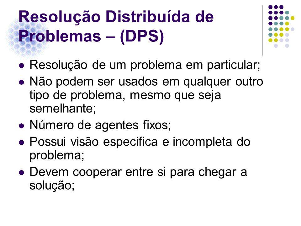 Resolução Distribuída de Problemas – (DPS) Resolução de um problema em particular; Não podem ser usados em qualquer outro tipo de problema, mesmo que