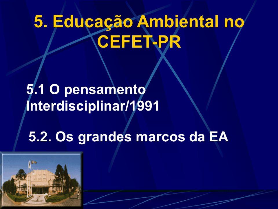 4.5. Propondo Soluções Capra: mudanças no sistema de valores Educação Ambiental Meio Ambiente DesenvolvimentoSustentabilidade Ética Biodiversidade Tec