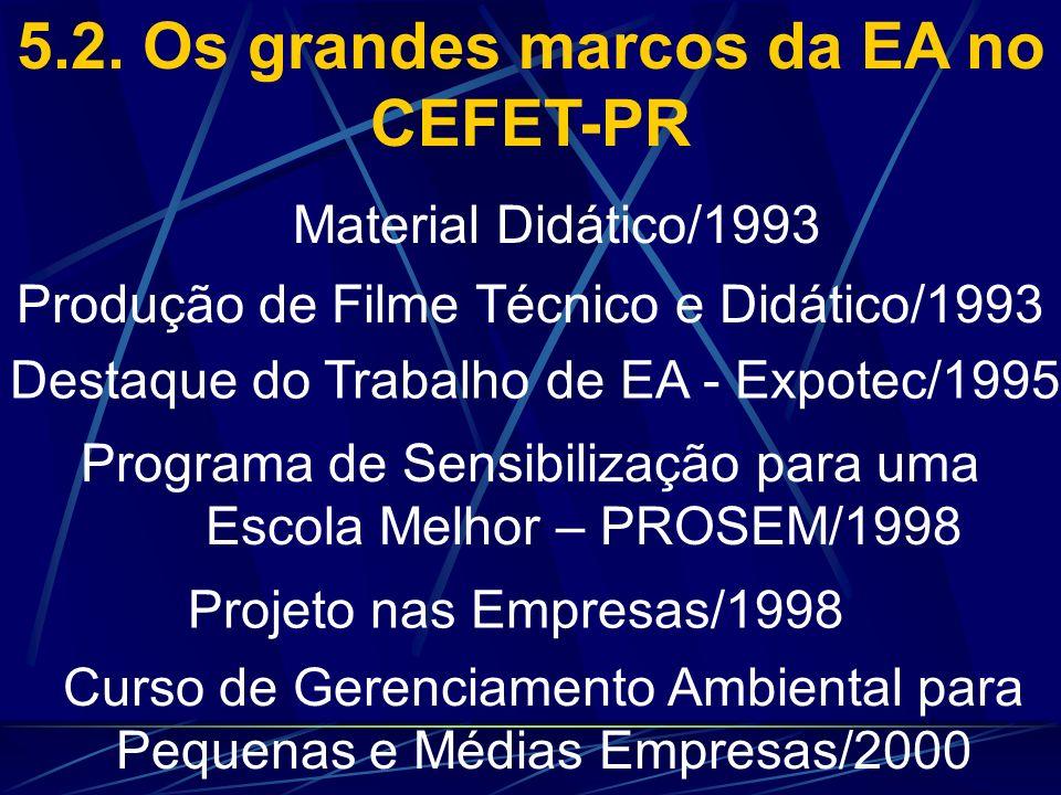5.2. Os grandes marcos da EA no CEFET-PR Treinamento de Professores-Embrapa/1991 Semana de Química, Biologia e Meio Ambiente/1992 Divulgação do Projet