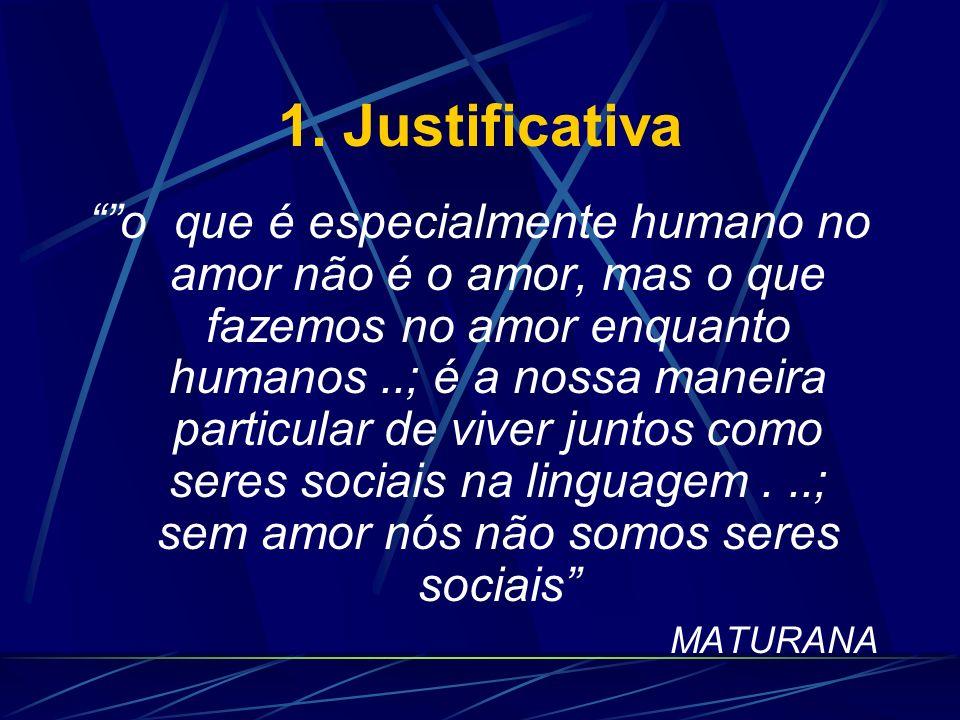 1. Justificativa [...] é o amor que dá origem à sociedade; a sociedade existe porque existe o amor e não ao contrário, como convencionalmente se acred