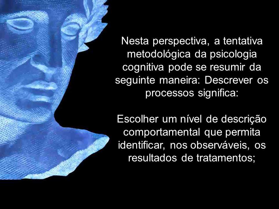 Nesta perspectiva, a tentativa metodológica da psicologia cognitiva pode se resumir da seguinte maneira: Descrever os processos significa: Escolher um