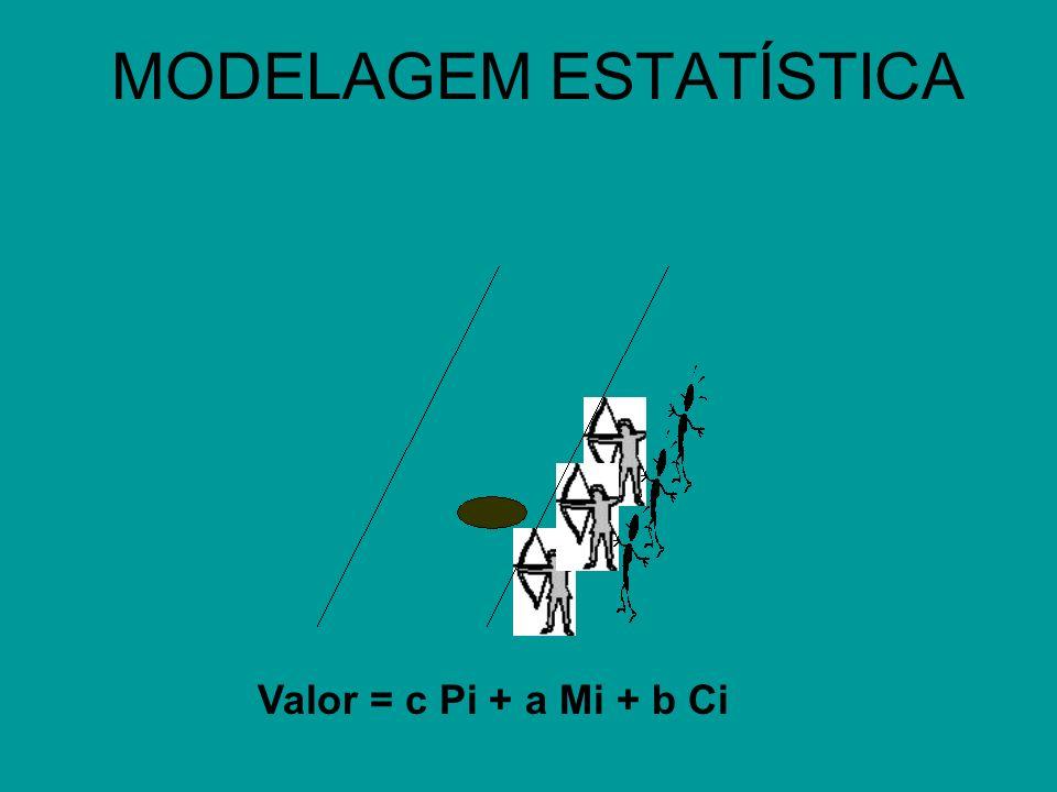MODELAGEM ESTATÍSTICA Valor = c Pi + a Mi + b Ci