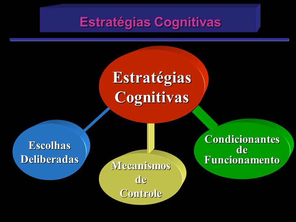 EscolhasDeliberadas Estratégias Cognitivas Estratégias Cognitivas CondicionantesdeFuncionamento MecanismosdeControle EstratégiasCognitivas