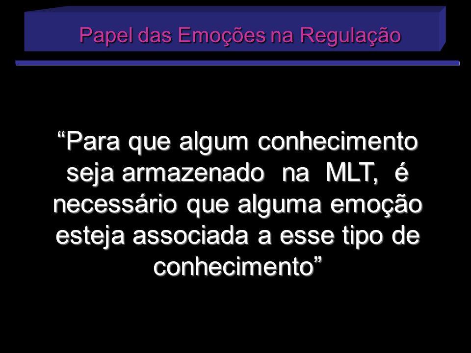 Papel das Emoções na Regulação Papel das Emoções na Regulação Para que algum conhecimento seja armazenado na MLT, é necessário que alguma emoção estej