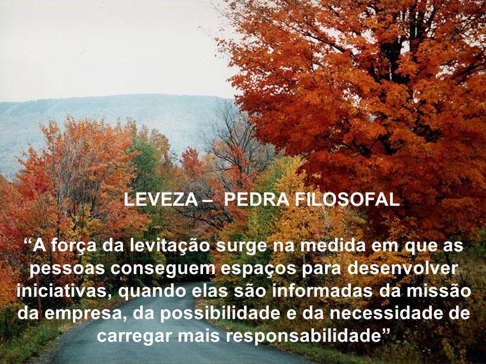 LEVEZA – PEDRA FILOSOFAL A força da levitação surge na medida em que as pessoas conseguem espaços para desenvolver iniciativas, quando elas são inform