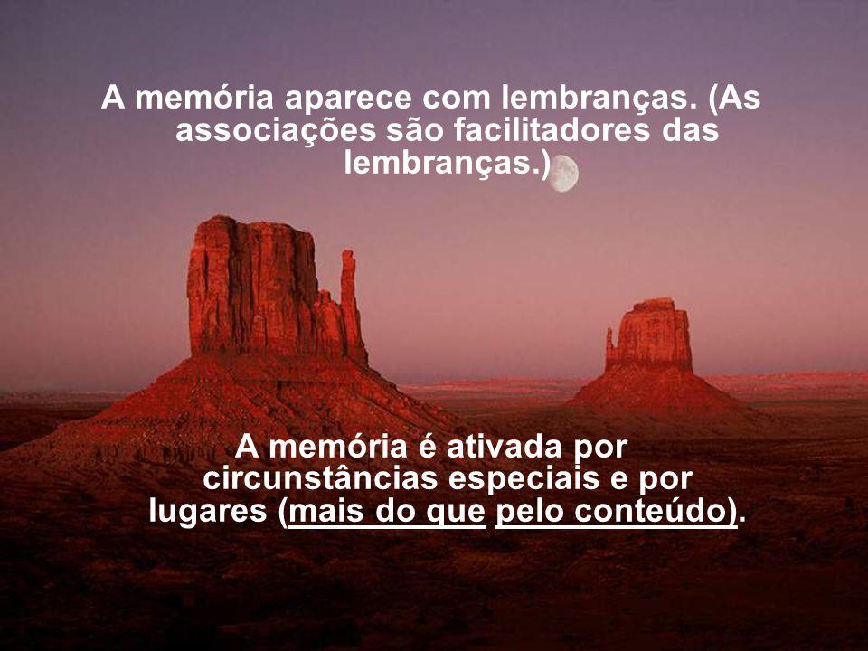 A memória aparece com lembranças. (As associações são facilitadores das lembranças.) A memória é ativada por circunstâncias especiais e por lugares (m
