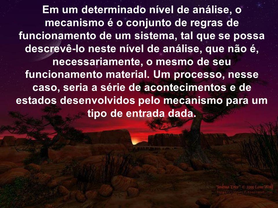 Em um determinado nível de análise, o mecanismo é o conjunto de regras de funcionamento de um sistema, tal que se possa descrevê-lo neste nível de aná