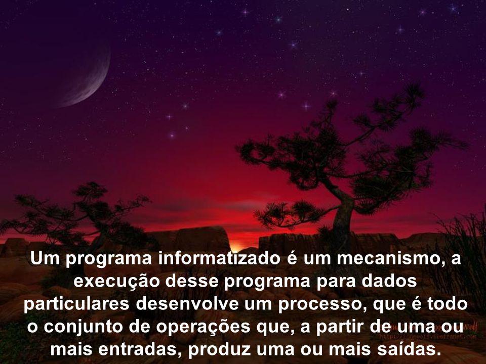 Um programa informatizado é um mecanismo, a execução desse programa para dados particulares desenvolve um processo, que é todo o conjunto de operações