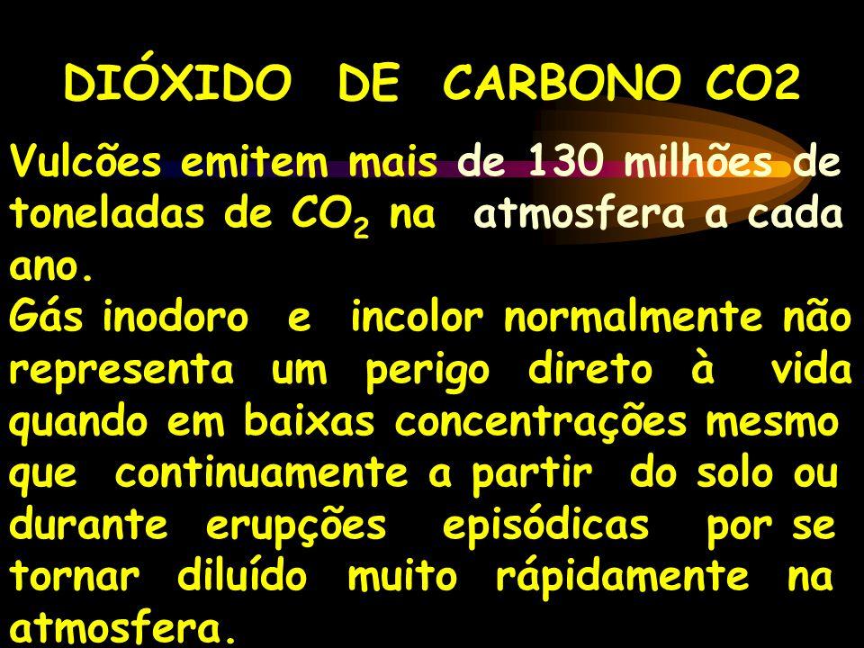 DIÓXIDO DE CARBONO CO2 Vulcões emitem mais de 130 milhões de toneladas de CO 2 na atmosfera a cada ano. Gás inodoro e incolor normalmente não represen