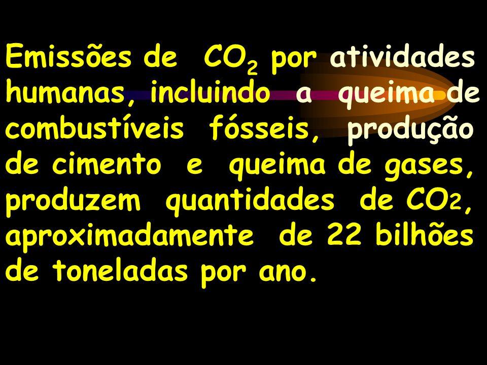 Emissões de CO 2 por atividades humanas, incluindo a queima de combustíveis fósseis, produção de cimento e queima de gases, produzem quantidades de CO