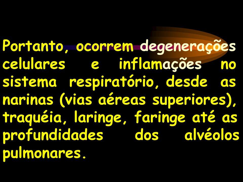 Portanto, ocorrem degenerações celulares e inflamações no sistema respiratório, desde as narinas (vias aéreas superiores), traquéia, laringe, faringe