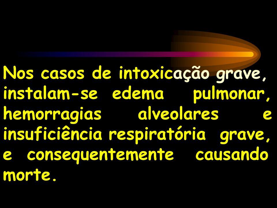 Nos casos de intoxicação grave, instalam-se edema pulmonar, hemorragias alveolares e insuficiência respiratória grave, e consequentemente causando mor