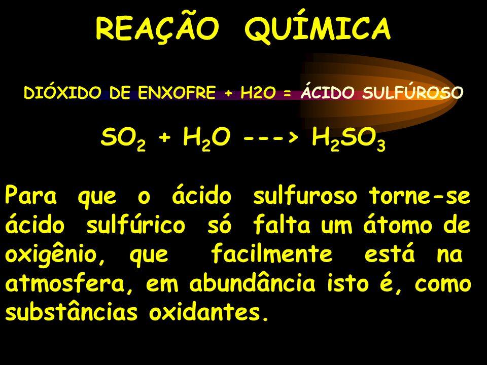 REAÇÃO QUÍMICA DIÓXIDO DE ENXOFRE + H2O = ÁCIDO SULFÚROSO SO 2 + H 2 O ---> H 2 SO 3 Para que o ácido sulfuroso torne-se ácido sulfúrico só falta um á