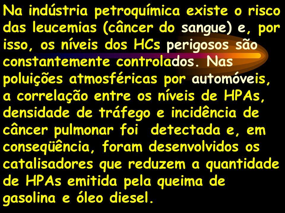 Na indústria petroquímica existe o risco das leucemias (câncer do sangue) e, por isso, os níveis dos HCs perigosos são constantemente controlados. Nas