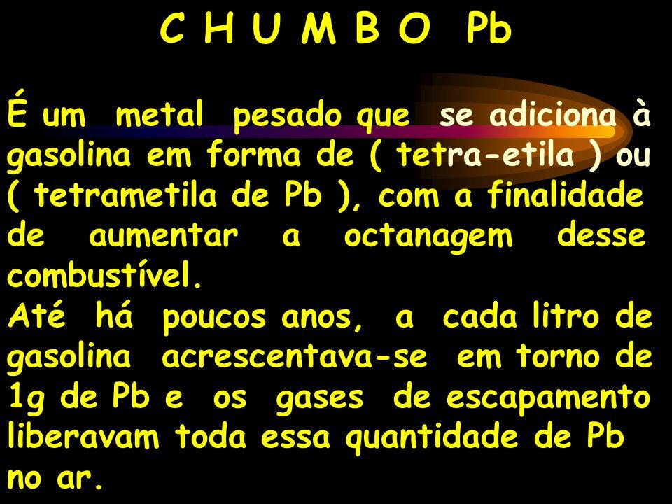C H U M B O Pb É um metal pesado que se adiciona à gasolina em forma de ( tetra-etila ) ou ( tetrametila de Pb ), com a finalidade de aumentar a octan