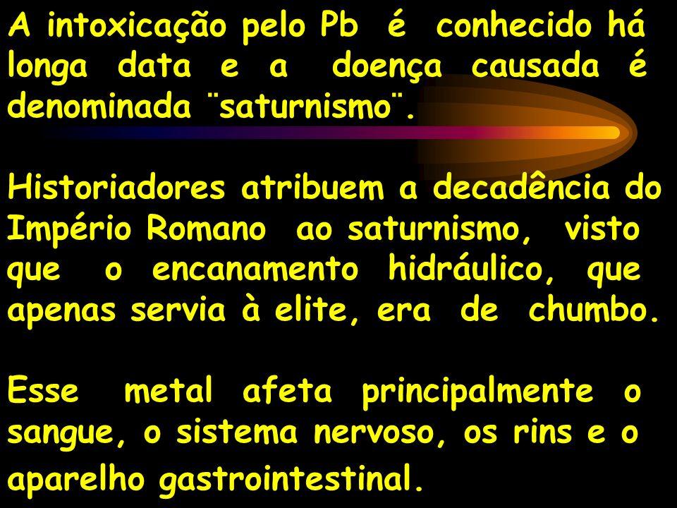 A intoxicação pelo Pb é conhecido há longa data e a doença causada é denominada ¨saturnismo¨. Historiadores atribuem a decadência do Império Romano ao