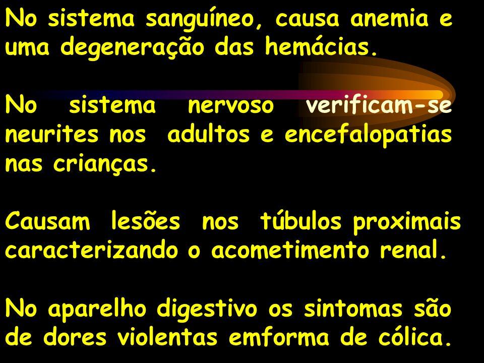 No sistema sanguíneo, causa anemia e uma degeneração das hemácias. No sistema nervoso verificam-se neurites nos adultos e encefalopatias nas crianças.