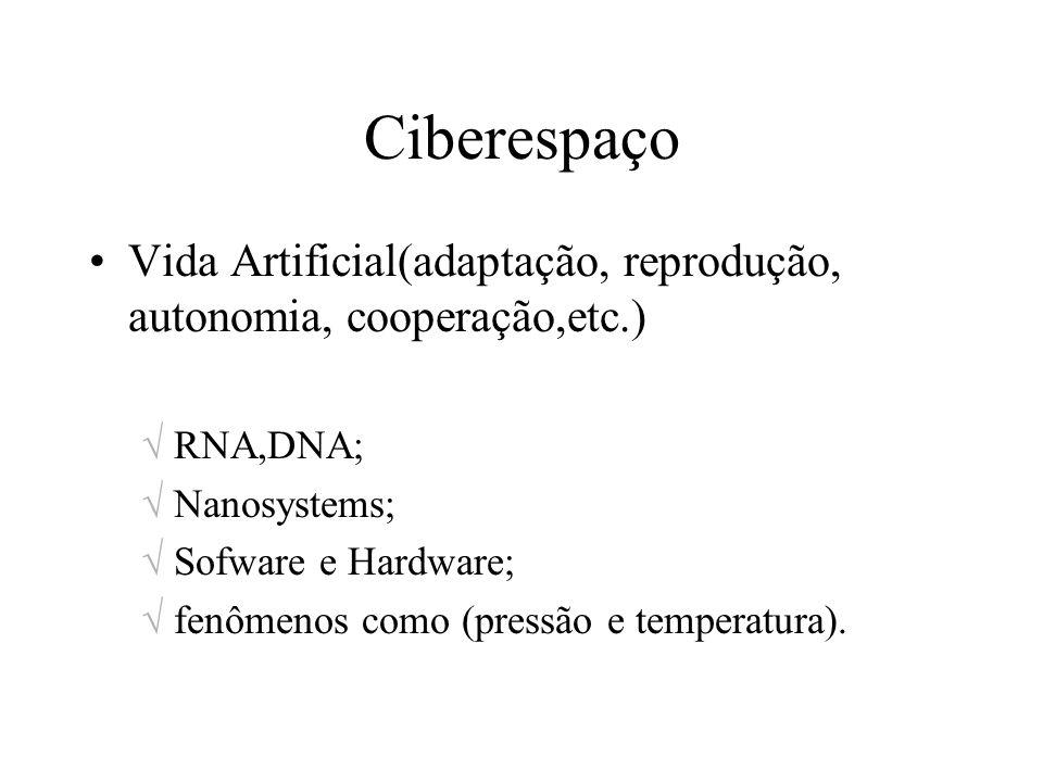 Ciberespaço Vida Artificial(adaptação, reprodução, autonomia, cooperação,etc.) RNA,DNA; Nanosystems; Sofware e Hardware; fenômenos como (pressão e tem