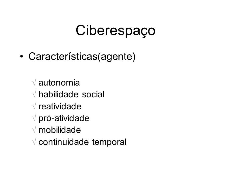 Ciberespaço Características(agente) autonomia habilidade social reatividade pró-atividade mobilidade continuidade temporal