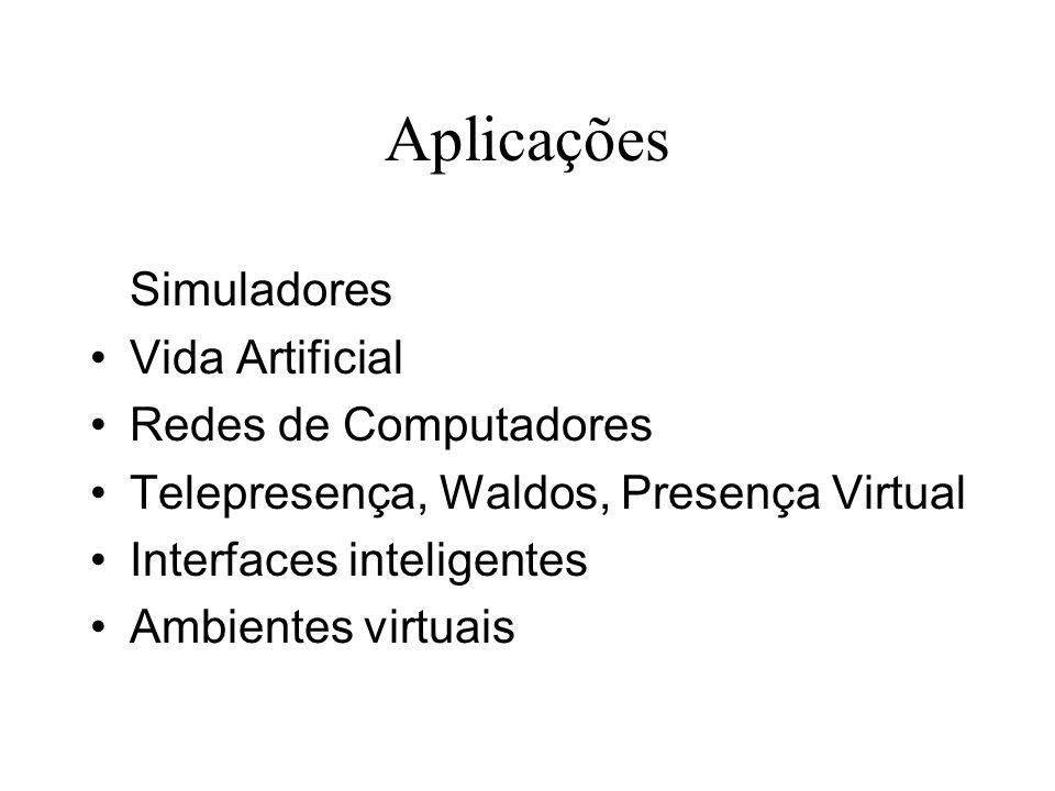 Aplicações Simuladores Vida Artificial Redes de Computadores Telepresença, Waldos, Presença Virtual Interfaces inteligentes Ambientes virtuais