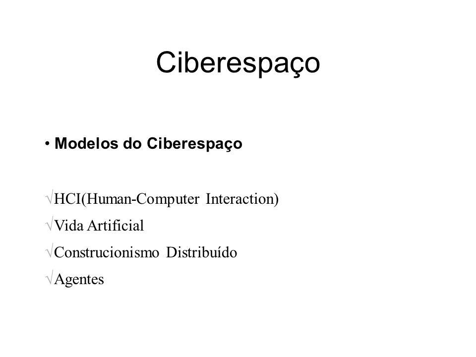Ciberespaço Modelos do Ciberespaço HCI(Human-Computer Interaction) Vida Artificial Construcionismo Distribuído Agentes