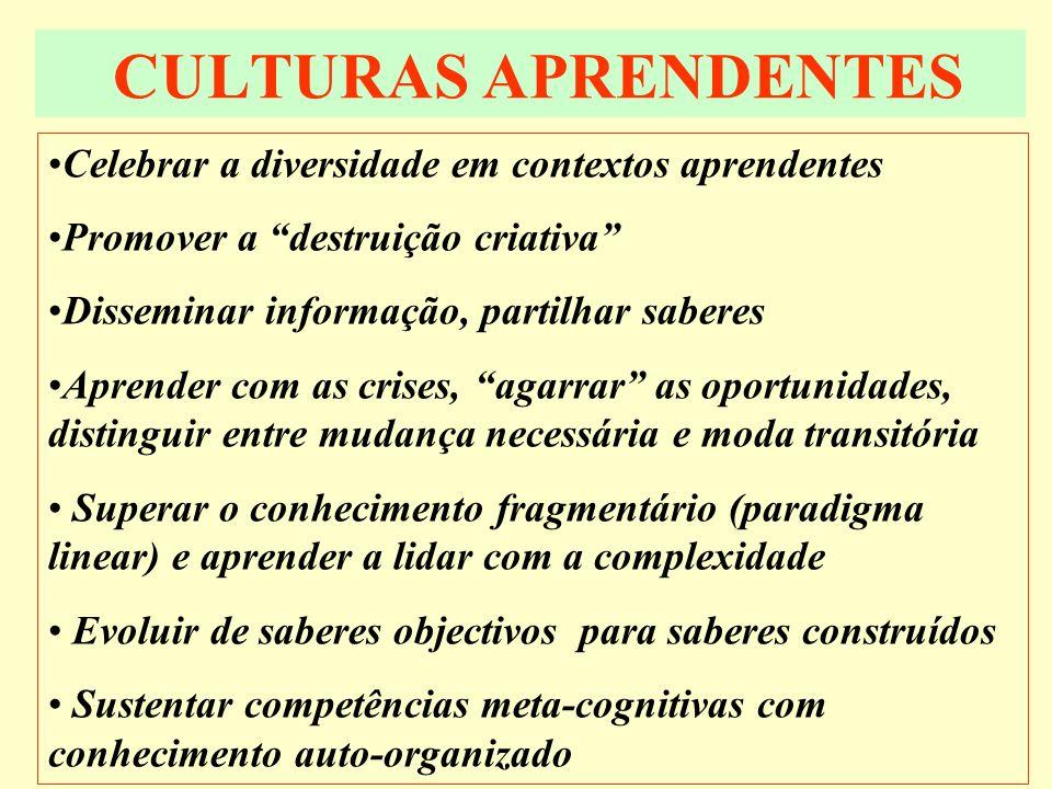 CULTURAS APRENDENTES Celebrar a diversidade em contextos aprendentes Promover a destruição criativa Disseminar informação, partilhar saberes Aprender